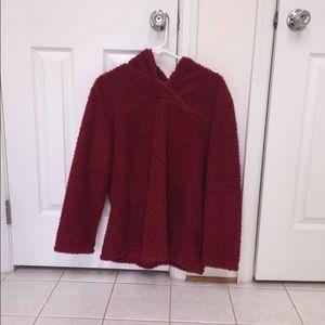 Red fleece hoodie